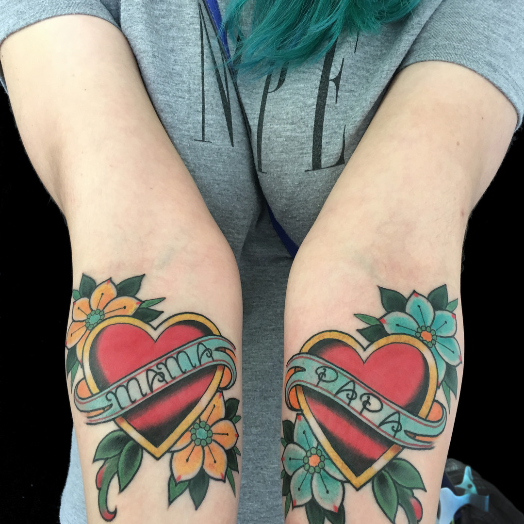 Mama & Papa Heart with Banner Tattoo.jpg