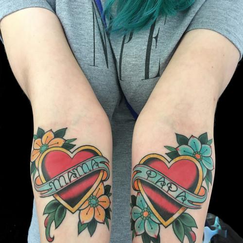 Mama & Papa Heart with Banner Tattoo.jpg