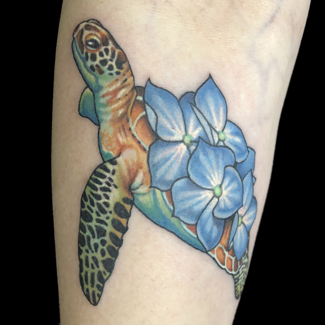 Small Sea turtle and Flowers.jpg