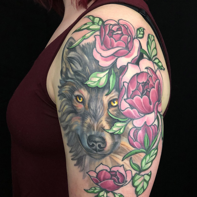 Wolf And Cabbage Rose Tattoo.jpg