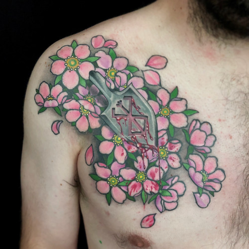 Throwing Dagger and Cherry Blossom Tatto