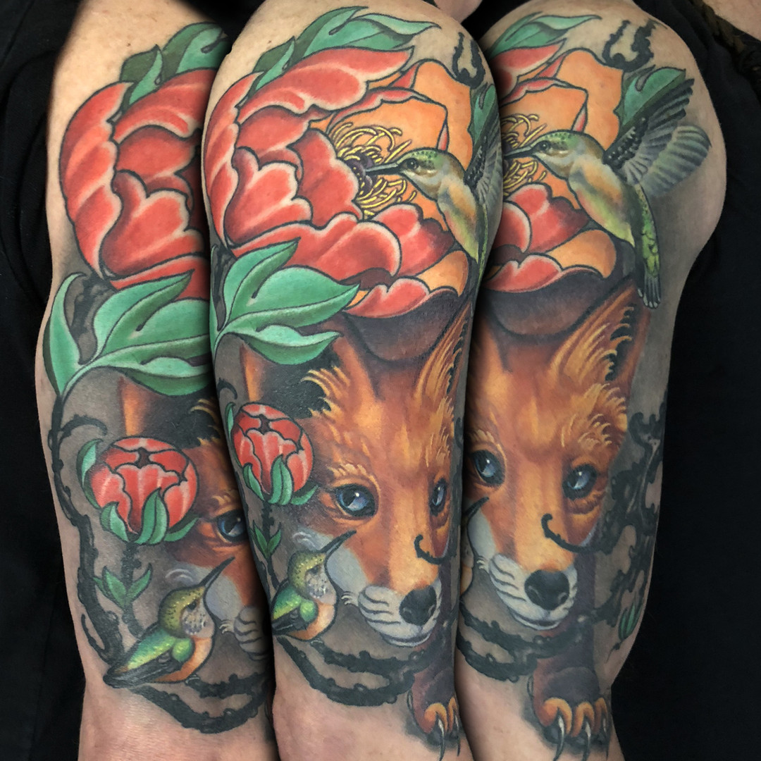 Fox and Humming Bird Half Sleeve Tattoo.