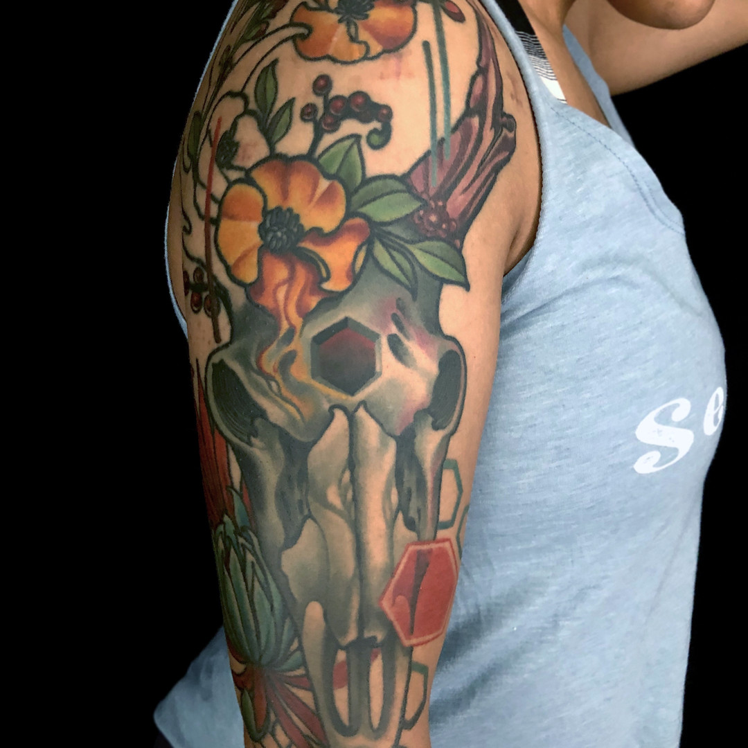 Skull And Poppy Flower Half Sleeve.jpg