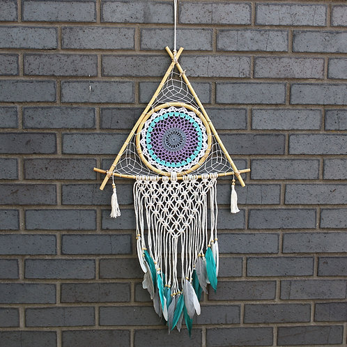 Protection Dream Catcher - Lrg Macrame Pyramid White/Turquoise