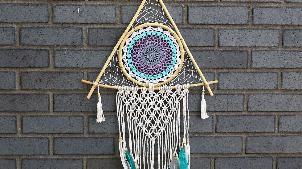 Protection Dream Catcher - Lrg Macrame Pyramid White/Turquoise