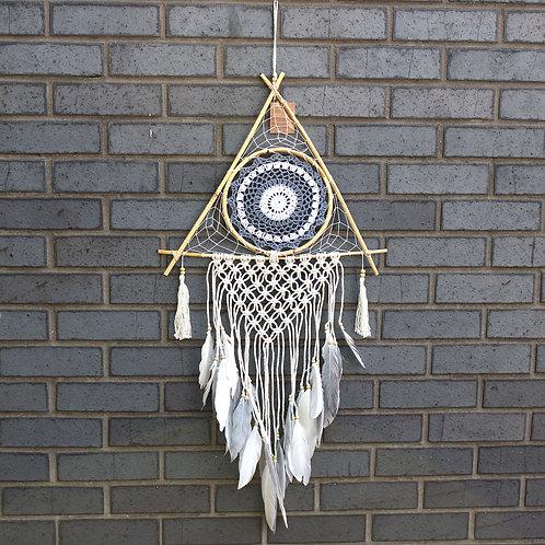 Protection Dream Catcher - Lrg Macrame Pyramid White/Grey