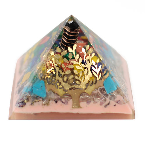 Lrg Organite Pyramid 70mm - Tree(earth base)
