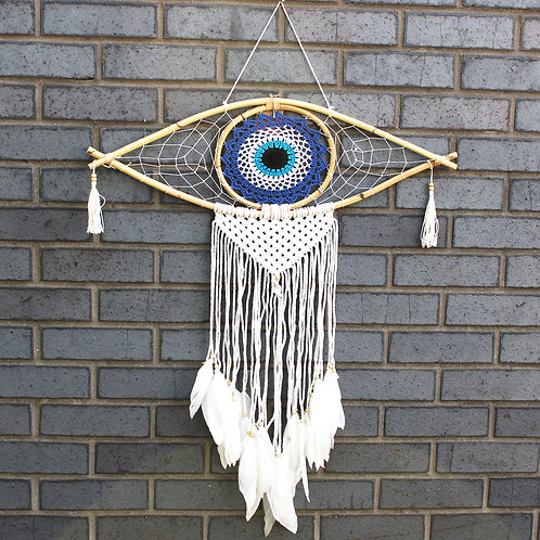 Protection Dream Catcher - Lrg Macrame Evil Eye Blue/White/Black