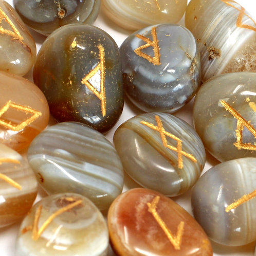 Runes Stone Set in Pouch - Banded Agate