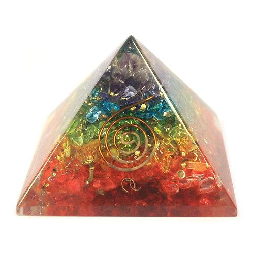 Lrg Orgonite Pyramid 70mm - Chakra Gemchips