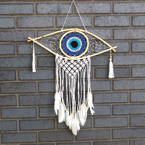 Protection Dream Catcher - Med Macrame Evil Eye Blue/White/Black