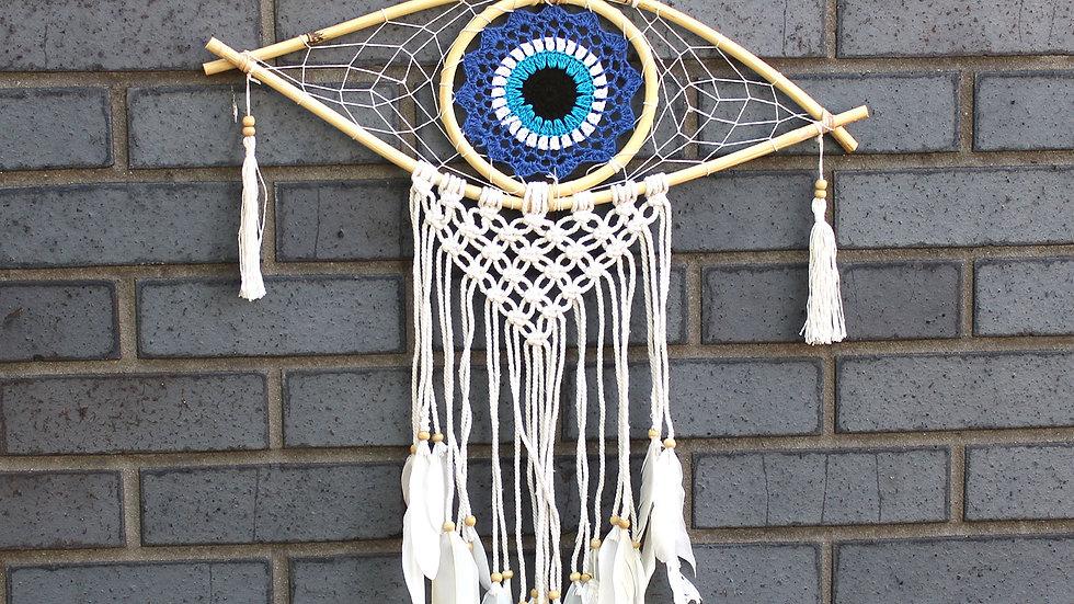 Protection Dream Catcher - Med Macrame Evil Eye Blue/White/Black