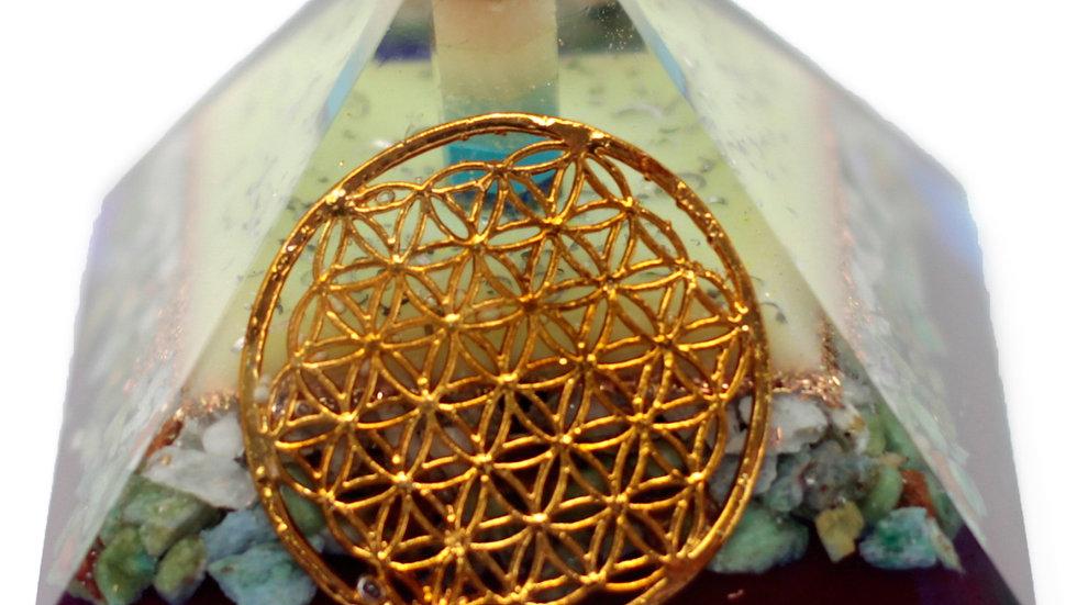Lrg Organite Pyramid 80mm - Flower of life symbol