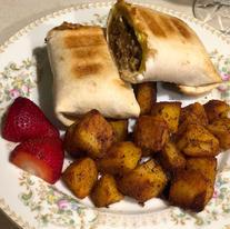 Sausage Burrito and Seasoned Potatoes