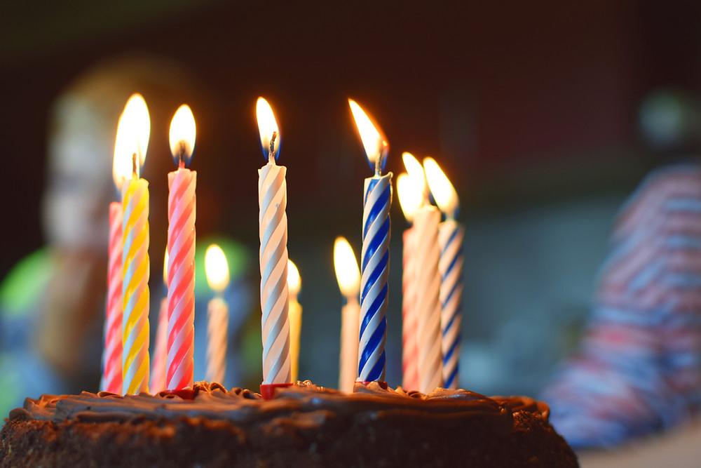 Lit Birthday Candles