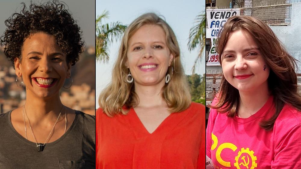 As três candidatas aparecem sorrindo, em fotos diferentes, lado a lado