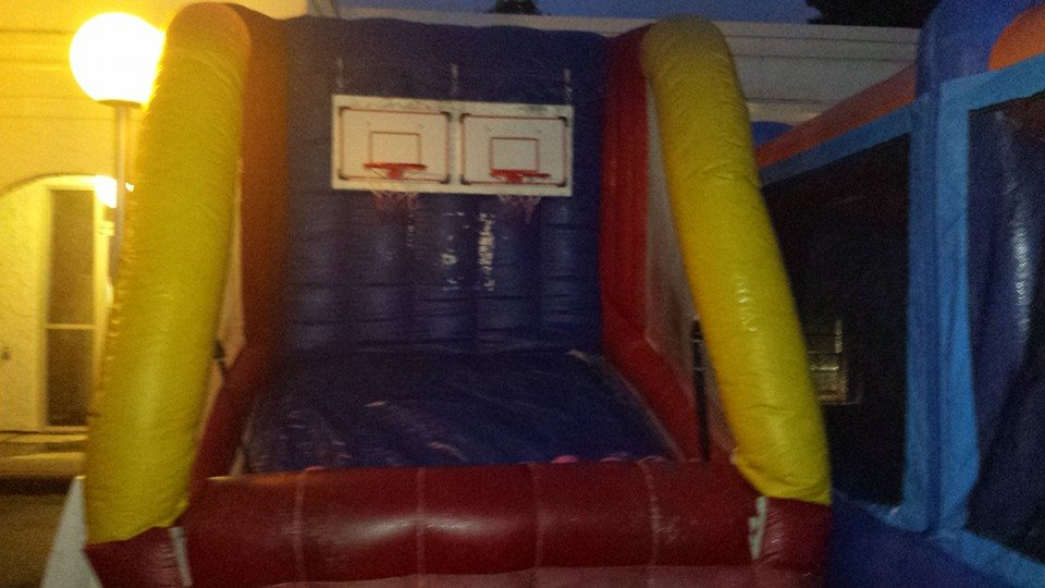 Inflatable double shot basketball