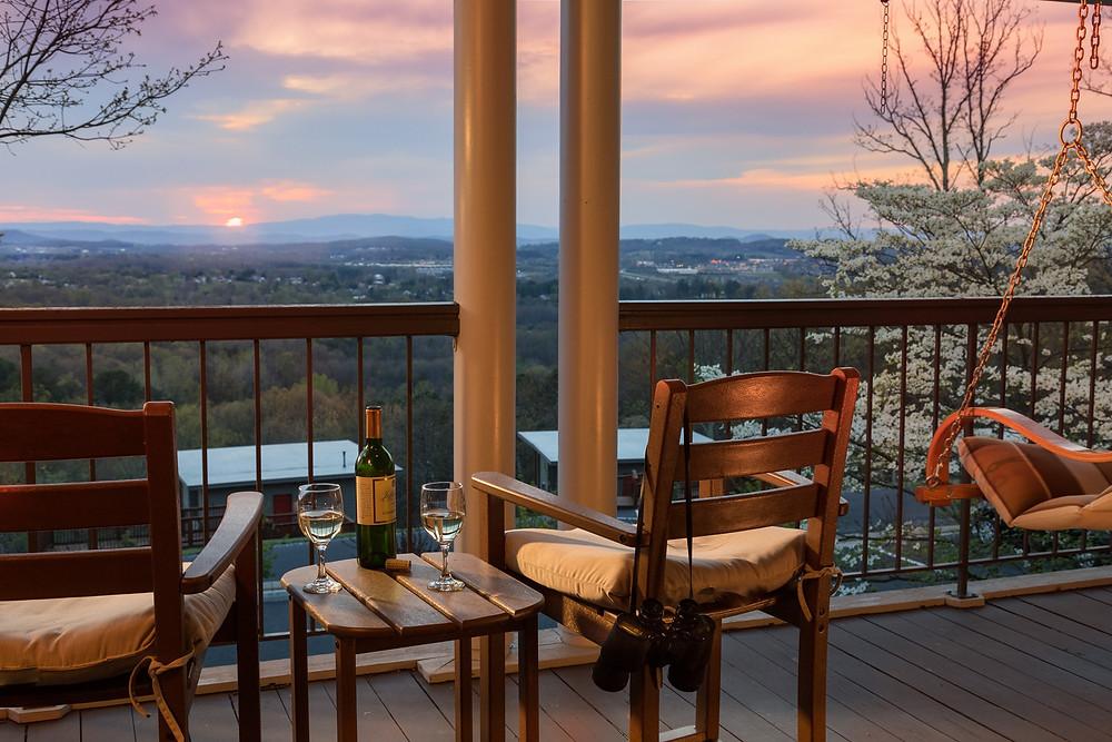 Mountain View, blue ridge mountains, balcony main inn, iris inn, iris inn main inn, balcony, wine, luxury retreat, luxury escape, mountain escape, romantic getaway