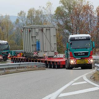 Convoi 300T livré dans les Alpes. Organisation ERTE: reco d'itinéraire, obtention des arrêtés, escortes