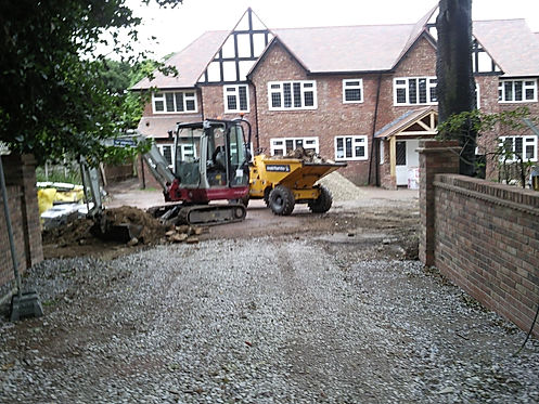 large driveway and ground work, driveway ad property developig in cheshire belmarsh construction