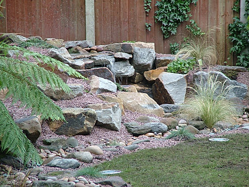 rockery, water feature, plants and planting,waterfall