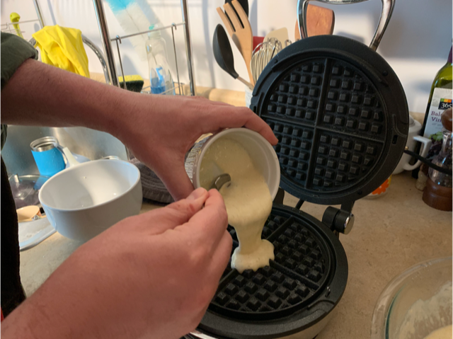 Sourdough starter is a key ingredient in this waffle batter