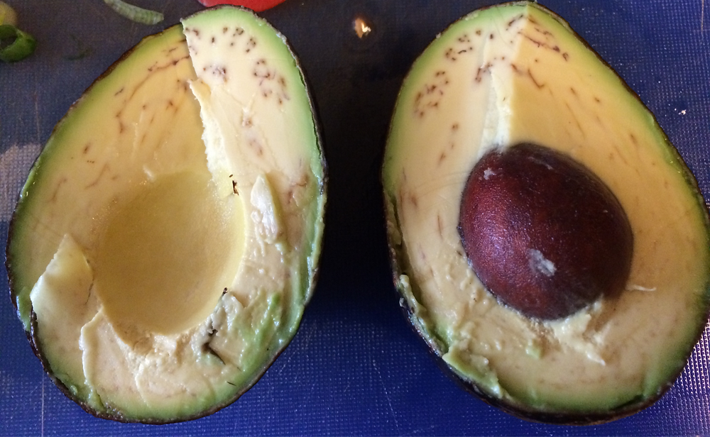 brown streaks in an avocado