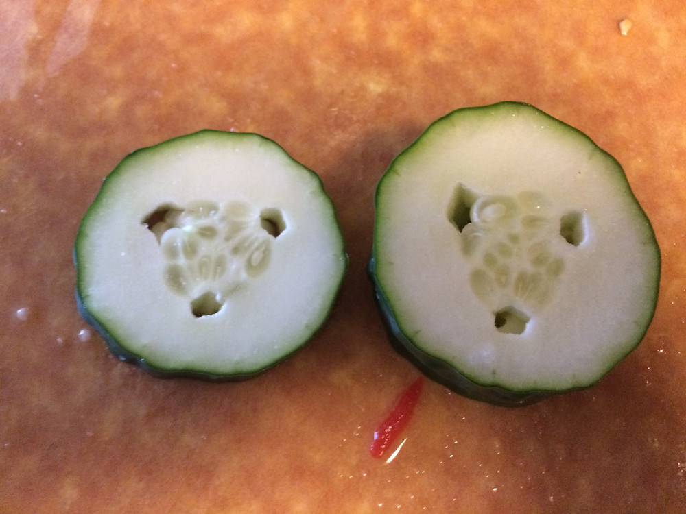 Holes around the seeds in the cucumber indicate that parts of it didn't connect while it was growing.