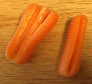 The carrots split!