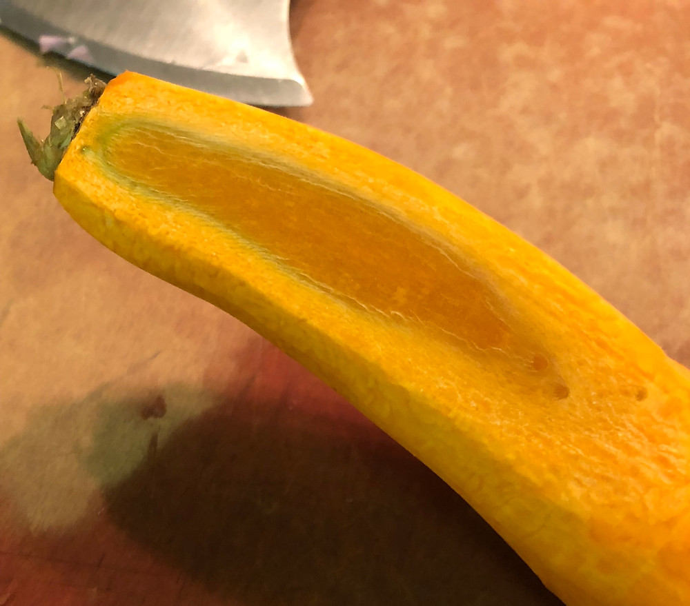 This carrot also has a xlyem (inner region) that is a darker orange than the phloem (outer region).