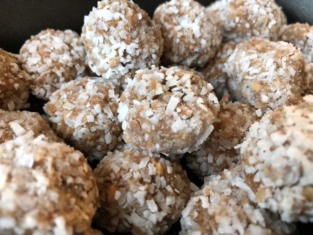Nutty truffles coated in coconut