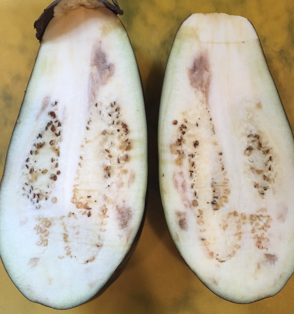 "Brown areas inside an eggplant are usually the result of a ""chilling injury."""