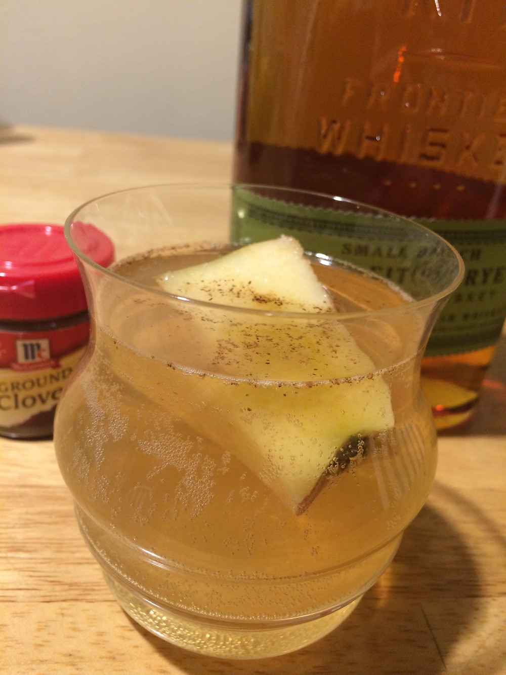 Cocktail made from apple shrub, which was made with vinegar and apple cores