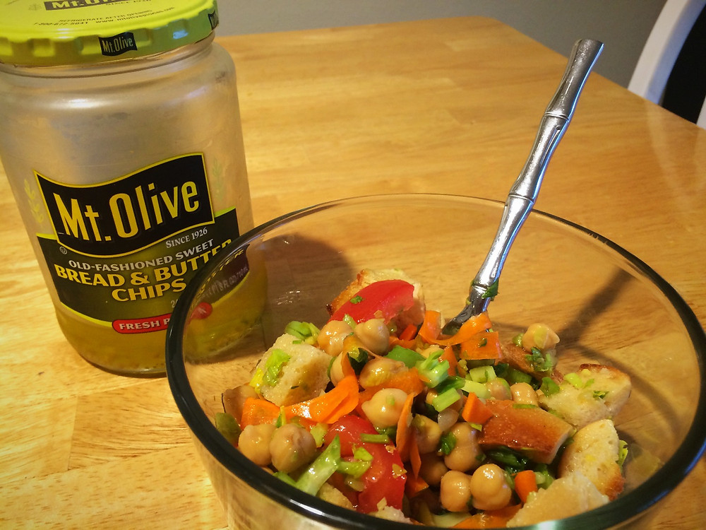 Use up pickle juice in a panzanella!