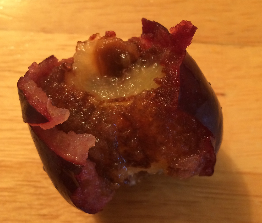 Plum with brown inside.
