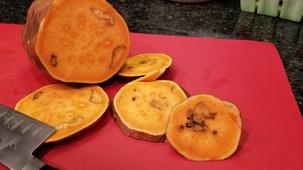Odd spots inside sweet potato?
