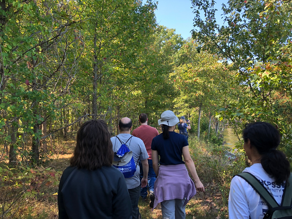 The Wild Edibles tour by the Accokeek Foundation sets out into the National Food Forest.