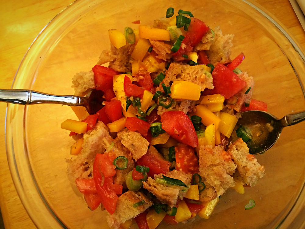 Use up leftover bread by making a panzanella
