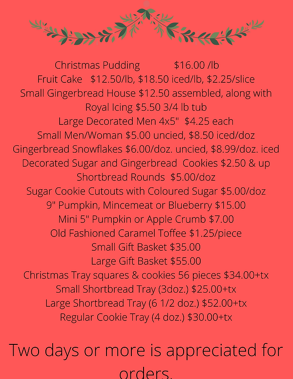 CHRISTMAS BAKING MENU