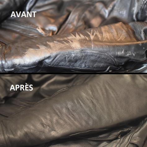 Pierre-Yves Ringuede Entretien Rénovation Patine Chaussures Maroquinerie Cuir cireur Nantes La baule Vannes Rénovation et Teinture Blouson en Cuir moto