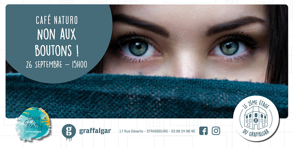 Cafe naturopathie, boutons d'acne, femme cachee par un foulard