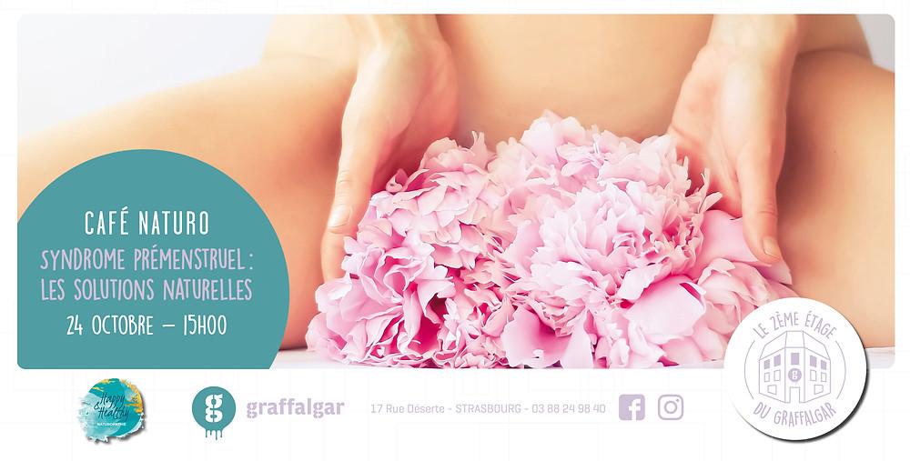 Café naturopathie, syndrome prémenstruel, femme nue tenant une fleur