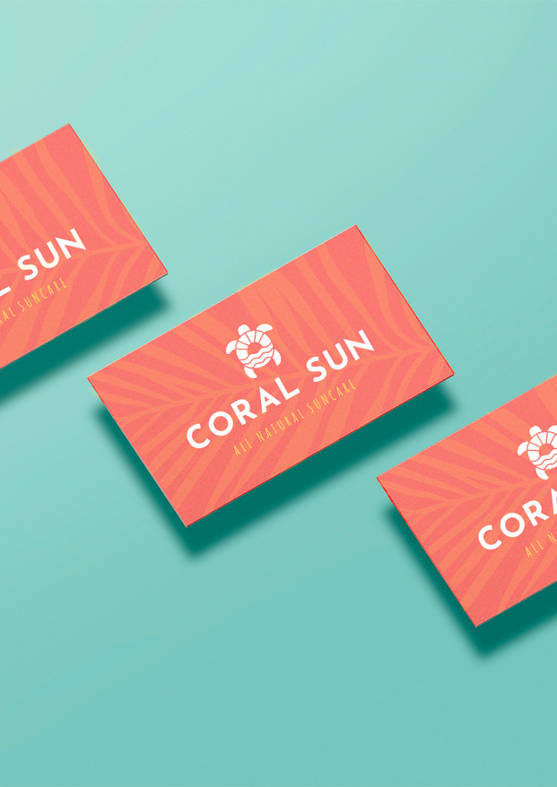 Coral Sun Business Card  Upgraded Mockup