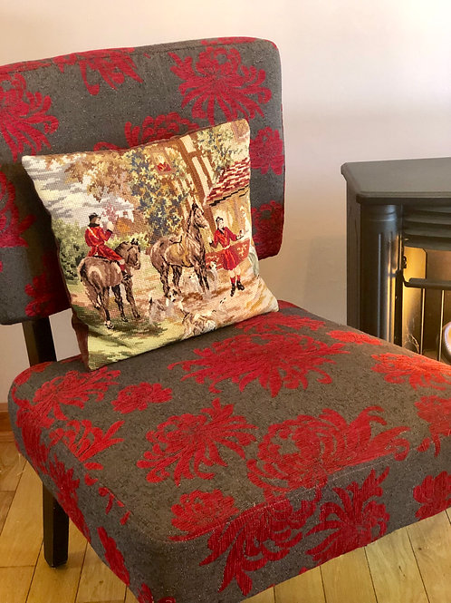 Hunting Horse & Hound Needlepoint Pillow