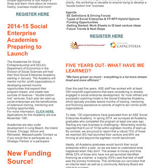 Click to download most recent newsletter- Falling into Social Enterprise!