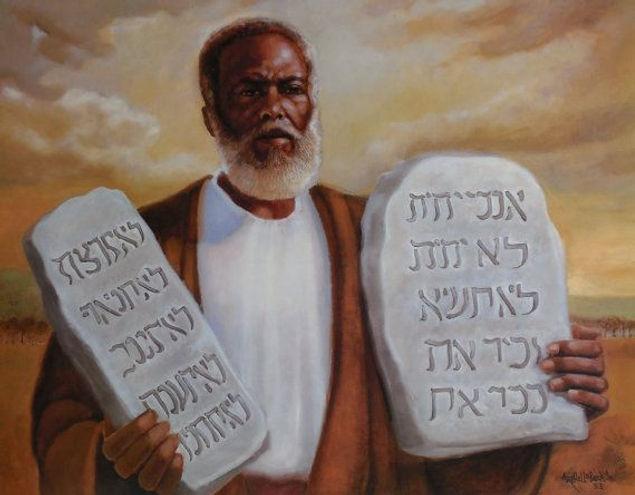 BLACK MOSES HOLDING THE TEN COMMANDMENTS