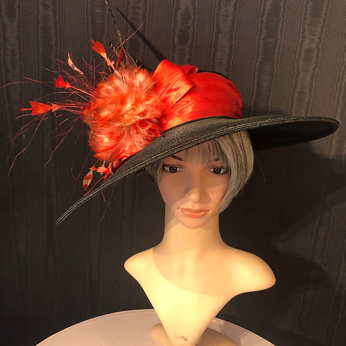 Black straw Bonnet with flame