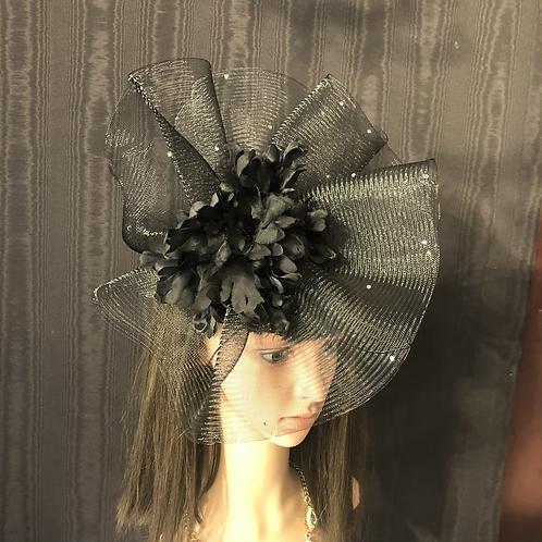 Black crinoline fan Fascinator