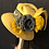 Thumbnail: Gold vintage felt mad hatter with brocade ribbon