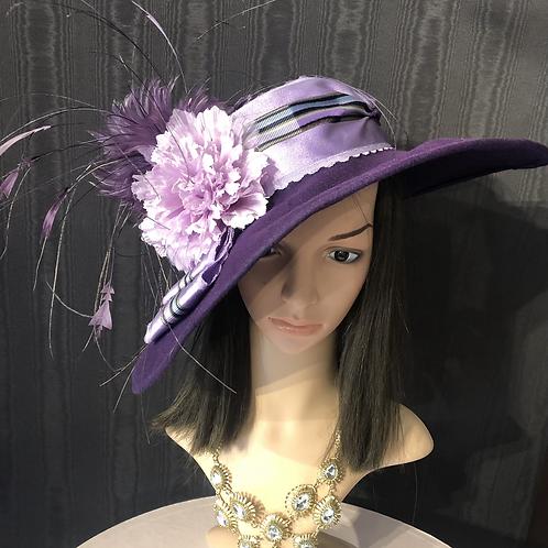 Royal purple vintage felt bonnet
